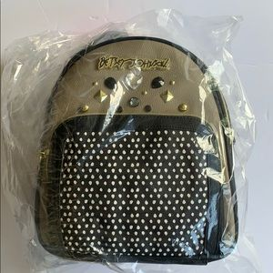 NWT Betsey Johnson black/taupe BEJEWELED backpack